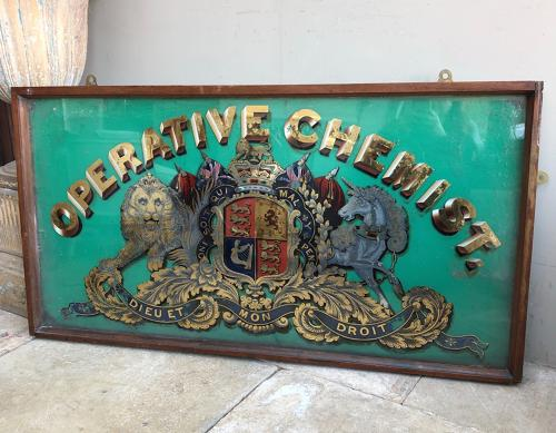 Superb Large Late Victorian Chemists Glass Advertising Sign