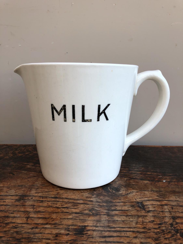 Rare Edwardian Black on White Milk Jug - One Quart