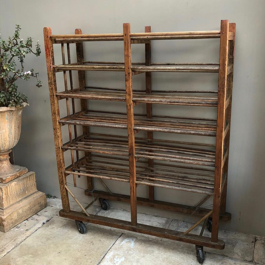 Antique Pine Shoe Rack - Linen Rack - Shelves - On Castors