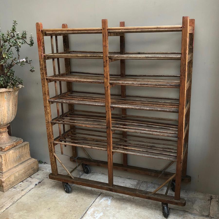Antique Pine Shoe Rack - Linen Rack - Shelves - On Castors