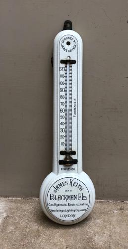 Super Rare Edwardian White Ironstone Advertising Thermometer - Complet