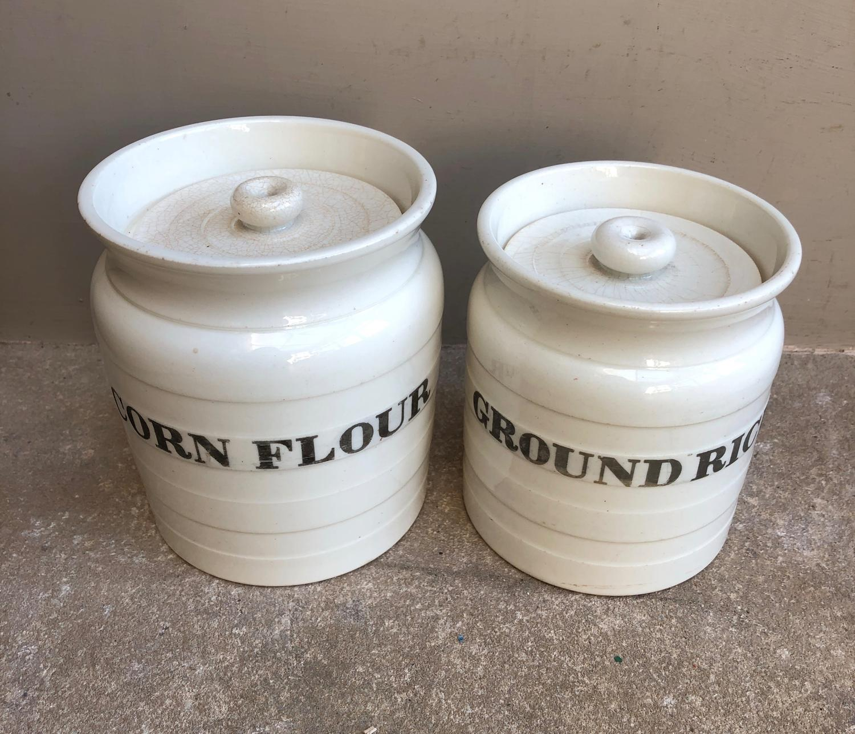 Edwardian White Banded Storage Jars - Ground Rice & Cornflour.