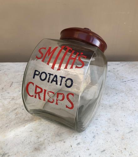 Rare Large Antique Shops Counter Top Smiths Crisps Jar
