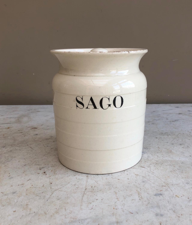 Late Victorian White Banded Kitchen Storage Jar - Sago