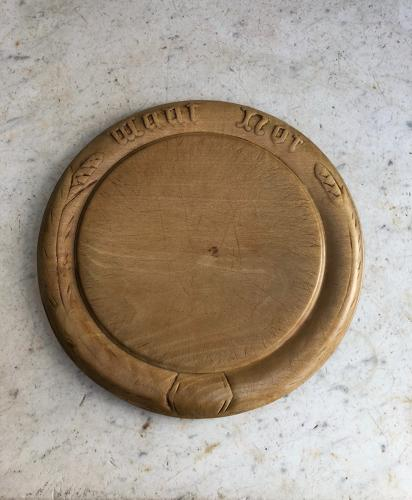 Victorian Carved Bread Board - Want Not