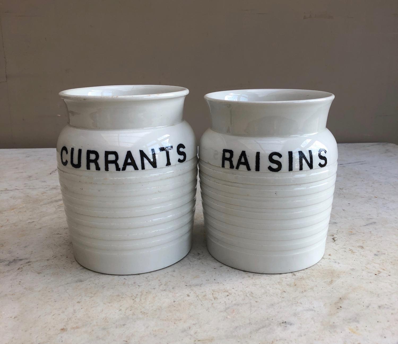 Pair of Edwardian White Banded Kitchen Jars - Currants & Raisins