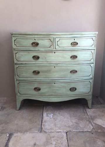 Victorian Bow Front Chest of Five Drawers - Later Painted
