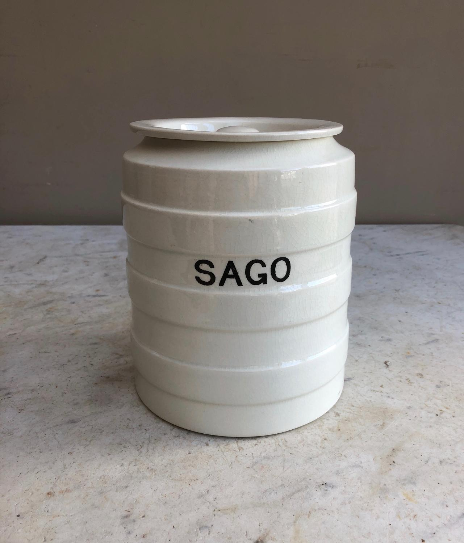 Large Early 20th Century White Banded Kitchen Storage Jar - Sago