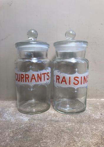 Wonderful Early 20th Century Painted Glass Currants & Raisins Jars