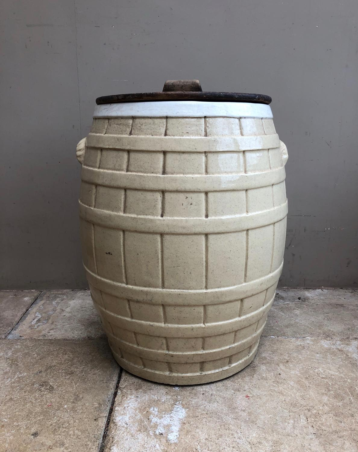 Rare Victorian Butchers Ox Tongue Pickling Barrel with Pine Lid