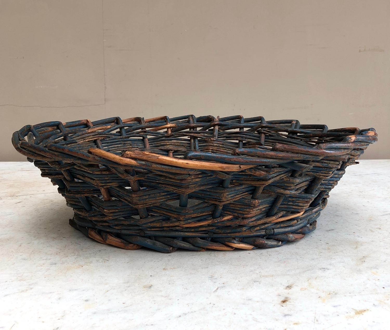 Edwardian Fruit or Vegetable Basket with Pine Base in Original Paint