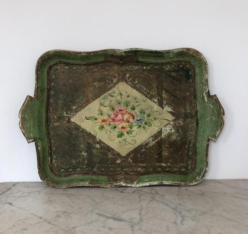Early 20th Century Carved & Painted Wooden Florentine Tray