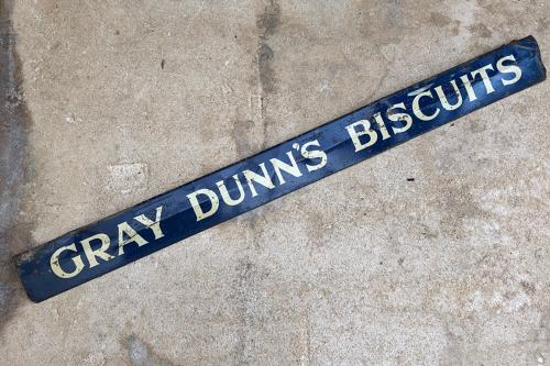 1920s Shops Tin Advertising Shelf Edge - Gray Dunns Biscuits