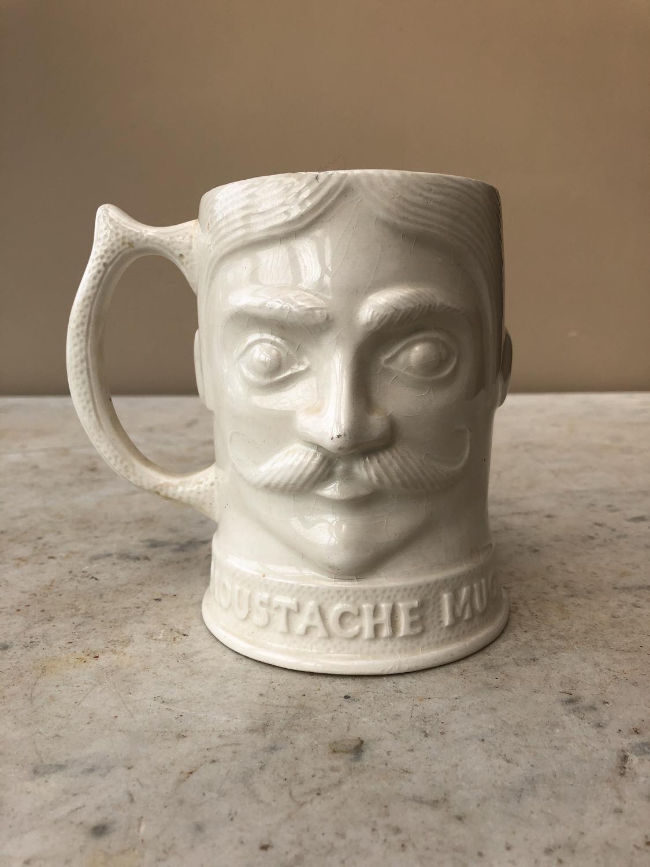 Mid Century White Ironstone Moustache Mug