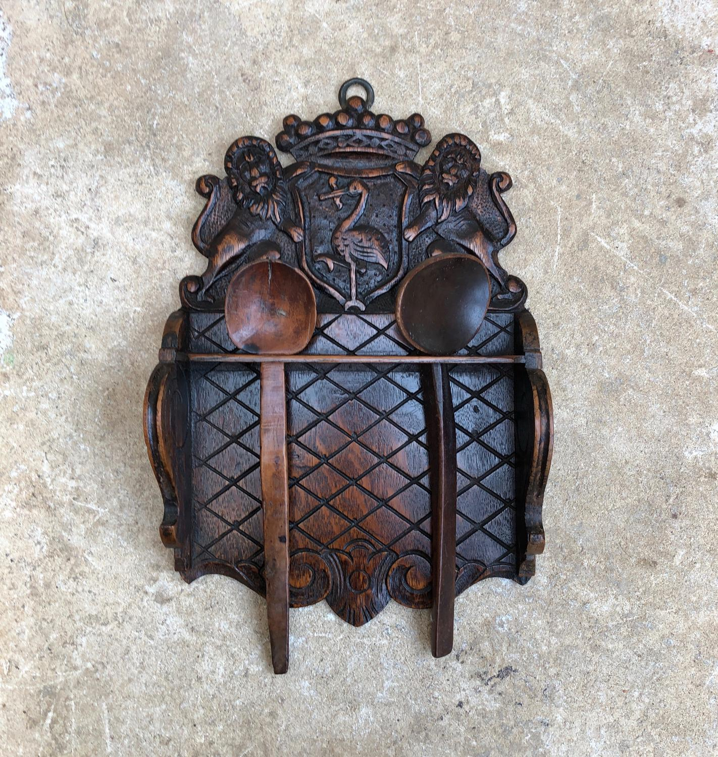 Late Victorian Treen Oak Spoon Rack with Crest Top