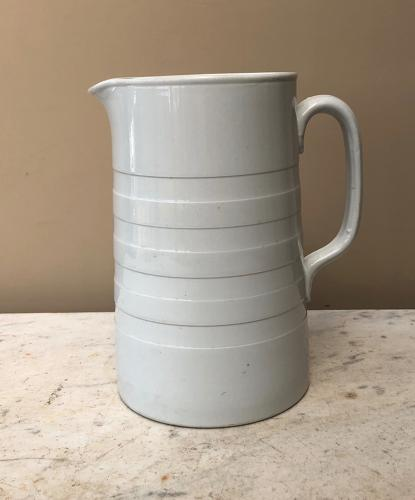 Large Edwardian White Banded Dairy Cream Jug