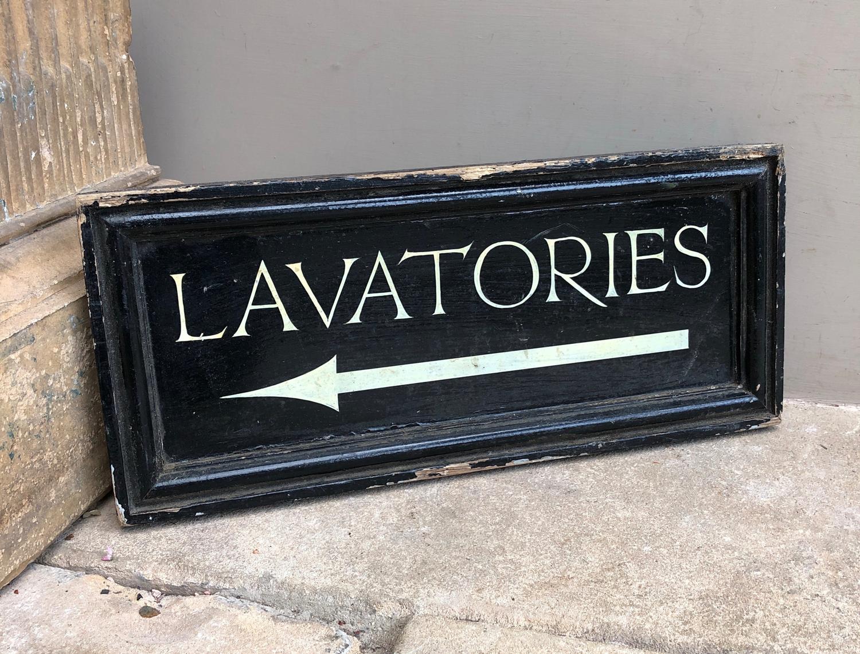 Time Worn Lavatories Sign in Original Pine Frame