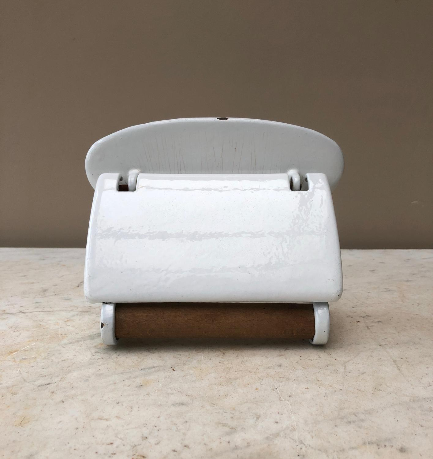 Early 20th Century White Enamel Loo Roll Holder with Flap to Stop Pape
