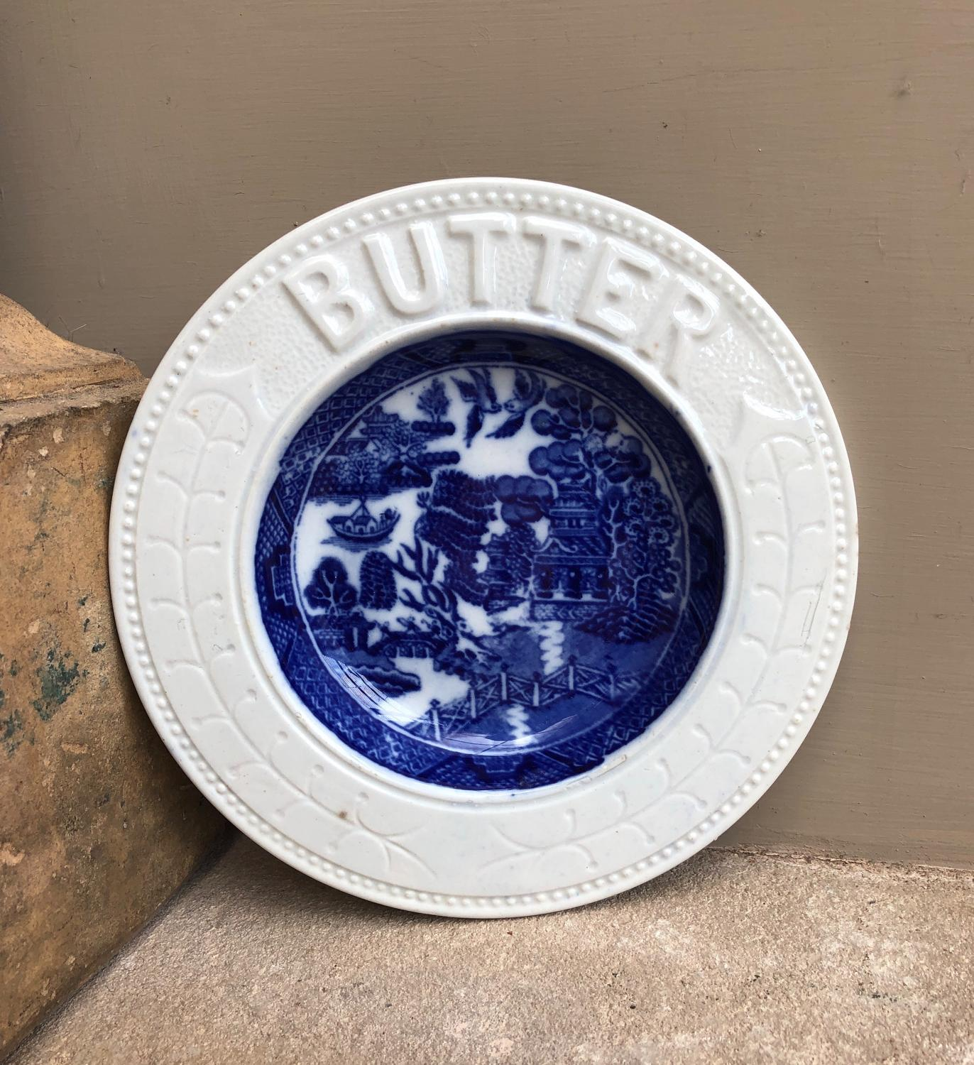 Edwardian White Ironstone Butter Dish with Blue Willow Pattern Inner