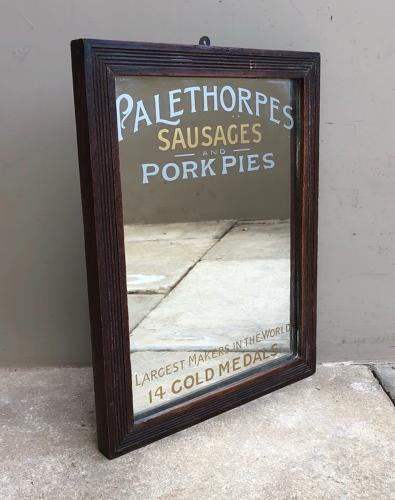 Rare Edwardian Advertising Mirror - Palethorpes Sausages & Pork Pies