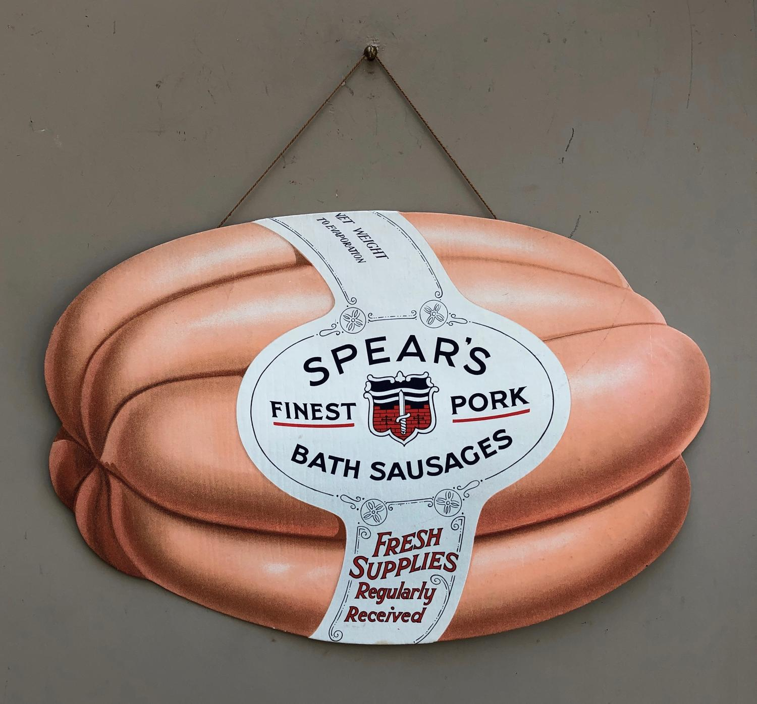 Large Early 20thC Shops Advertising Sign - Spears Sausages