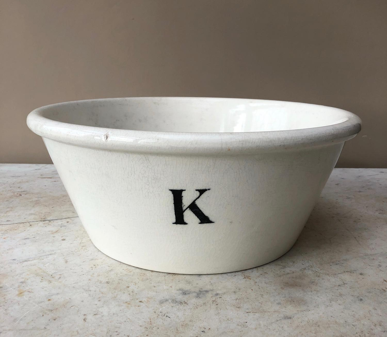 Huge Edwardian White Ironstone K Bowl