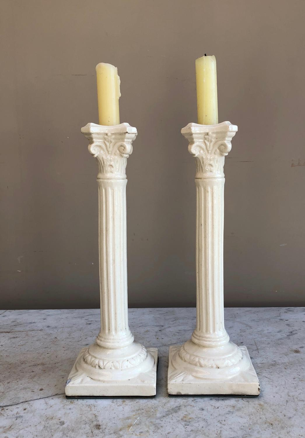 Pair of Antique Tall White Ironstone Column Candlesticks