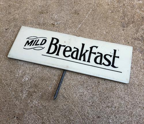 1930s Shops Tin Tea Sign - Mild Breakfast