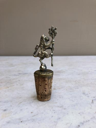 Early 20th Century White Metal & Brass Lion Bottle Stop