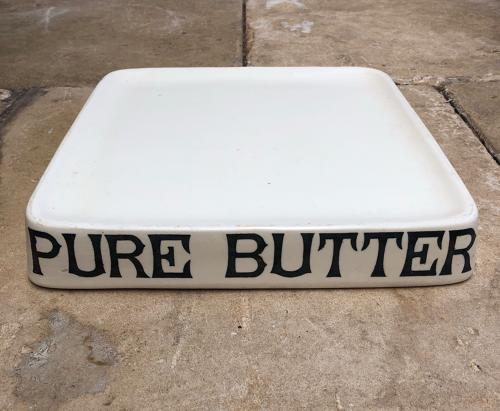 Superb Edwardian Grocers or Dairys White Ironstone Slab - Pure Butter