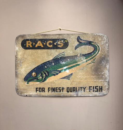 Mid Century Metal RACS For Finest Quality Fish Sign - Original Paint