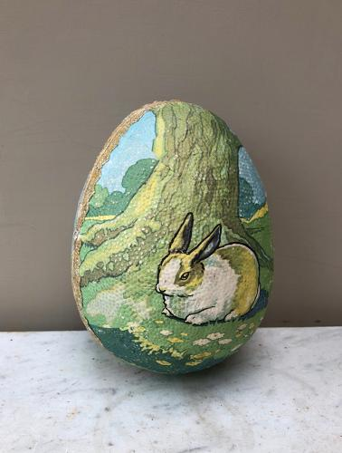 1940s Large Two Part Easter Egg Holder. Rabbit & Lamb.