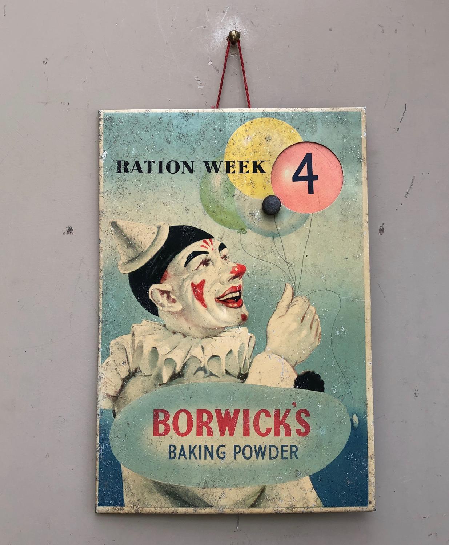 1940s Shops Advertising Sign - Ration Week & Borwick Baking Powder