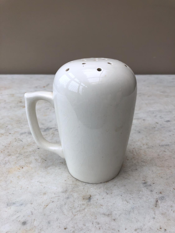1930s White Ironstone Flour Shaker