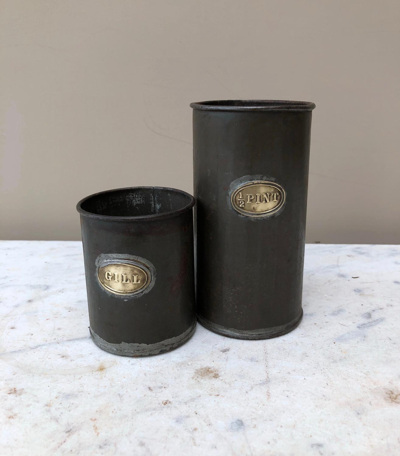 Two Brown & Polsons Measures - Half Pint & Gill