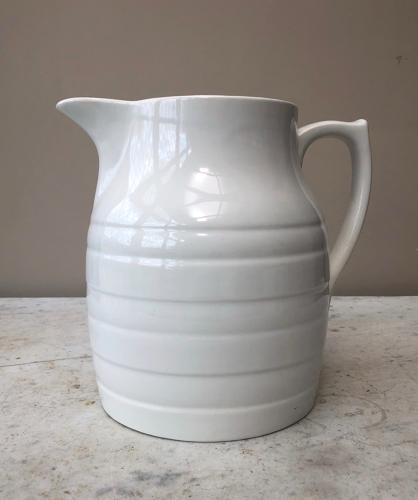 Early 20th Century Large Six Pint White Banded Milk Jug - Sadler
