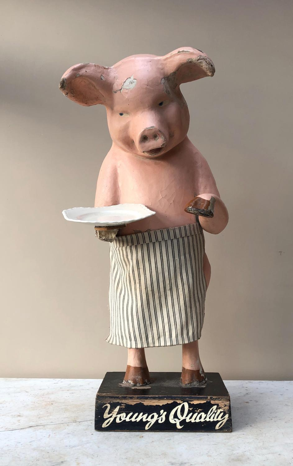 Late Victorian Butchers Advertising Papier Mache Pig - Youngs Quality