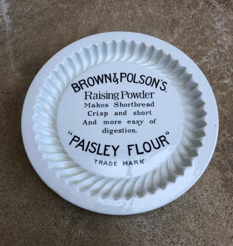 Antique White Ironstone Doulton Brown & Polsons Advertising Shortbread