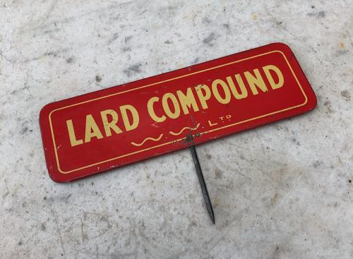 1940s Butchers Tin Sign - Lard Compound