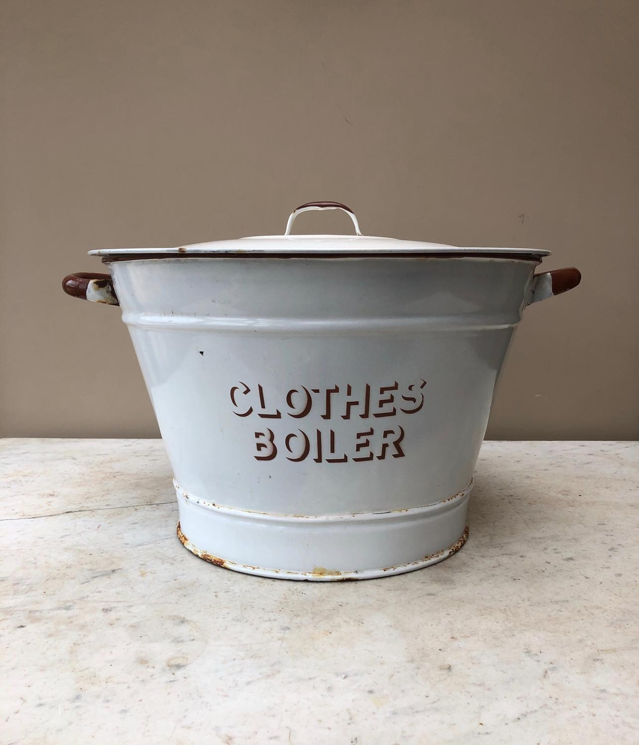 Early 20th Century White Enamel Clothes Boiler with Lid