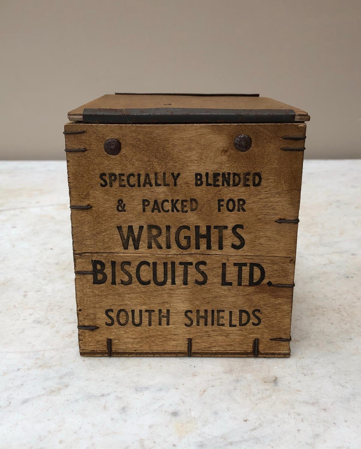 Unusual Early 20thC Wooden Advertising Tea Box - Wrights Biscuits Ltd