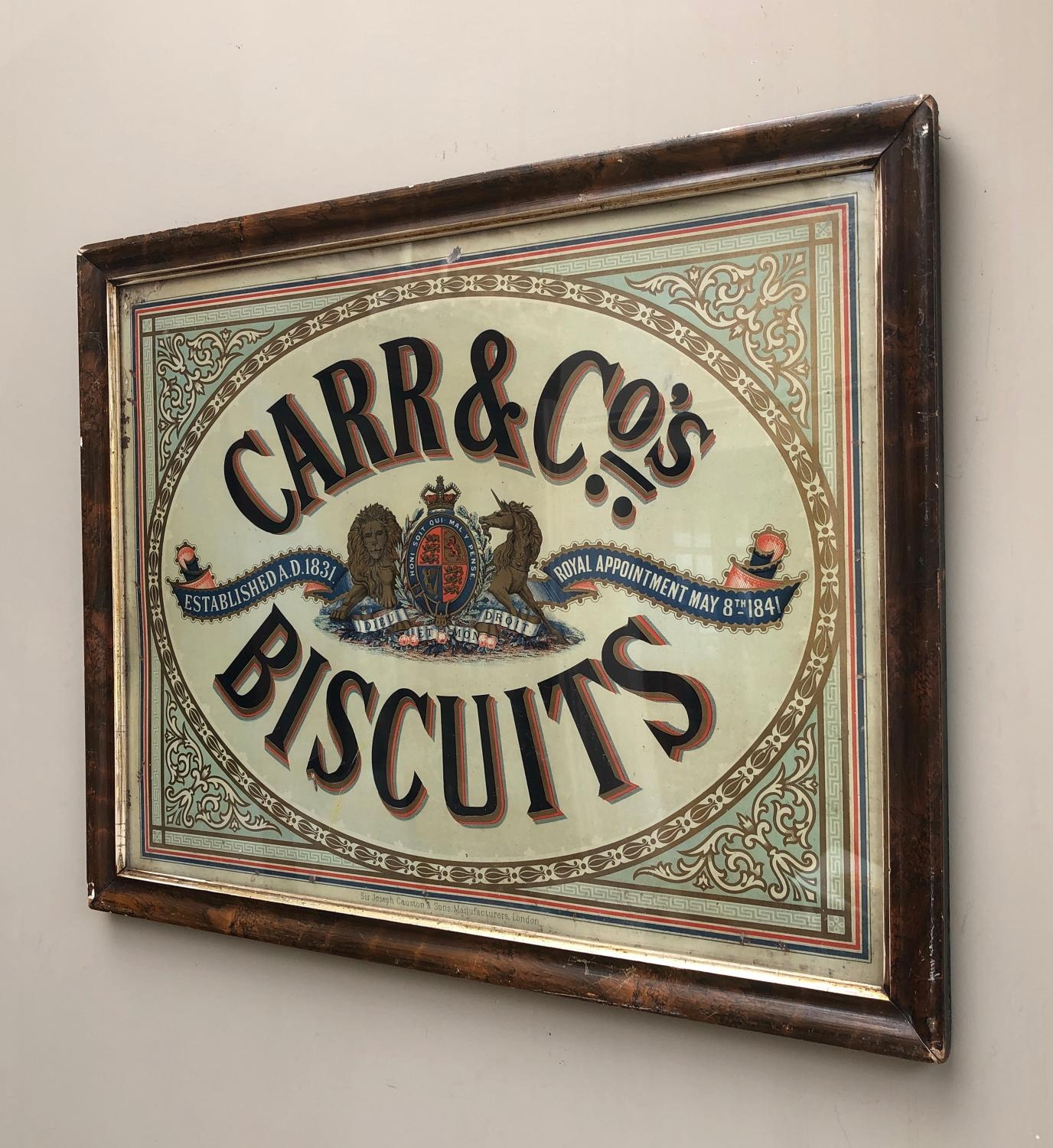Victorian Tin Advertising Sign - Carr & Co's Biscuits By Royal Appoint