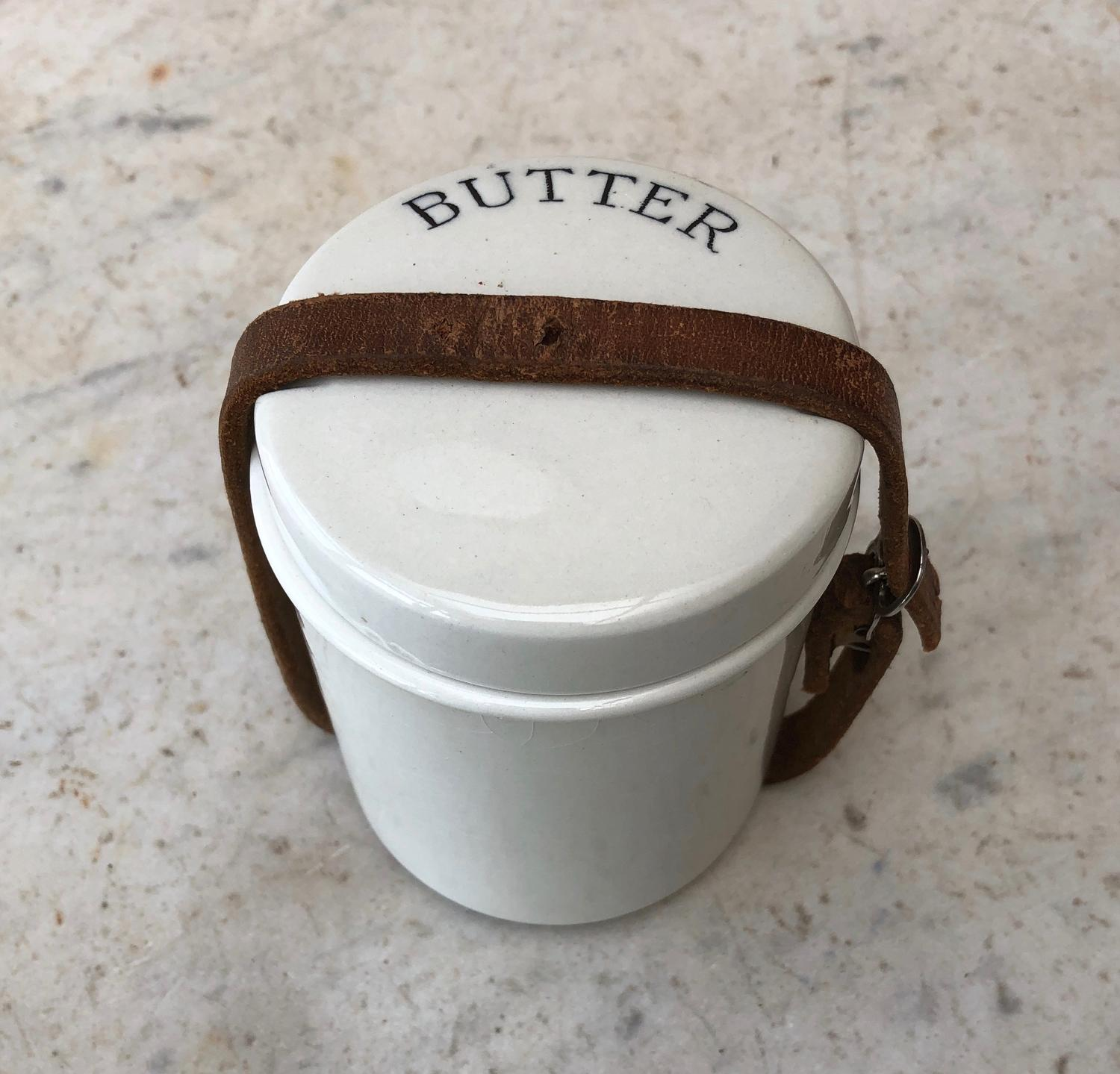 Edwardian White Ironstone Butter Pot with Original Leather Strap