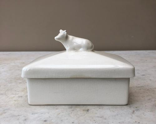 1930s White Ironstone Butter Dish with Cow Topped Lid