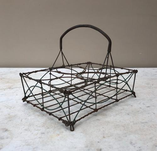 Early 20th Century Wire Work Glass Carrier