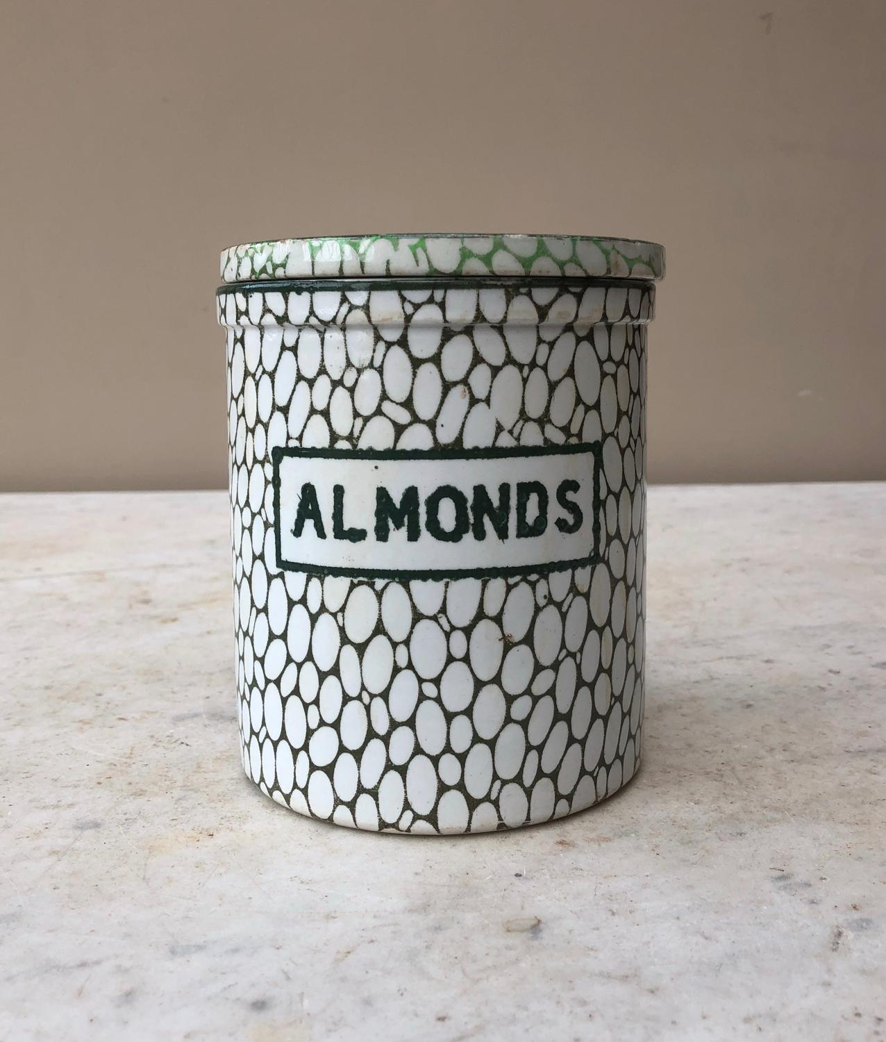 Early 20thC Maling Green Cobblestone Storage Jar - Almonds