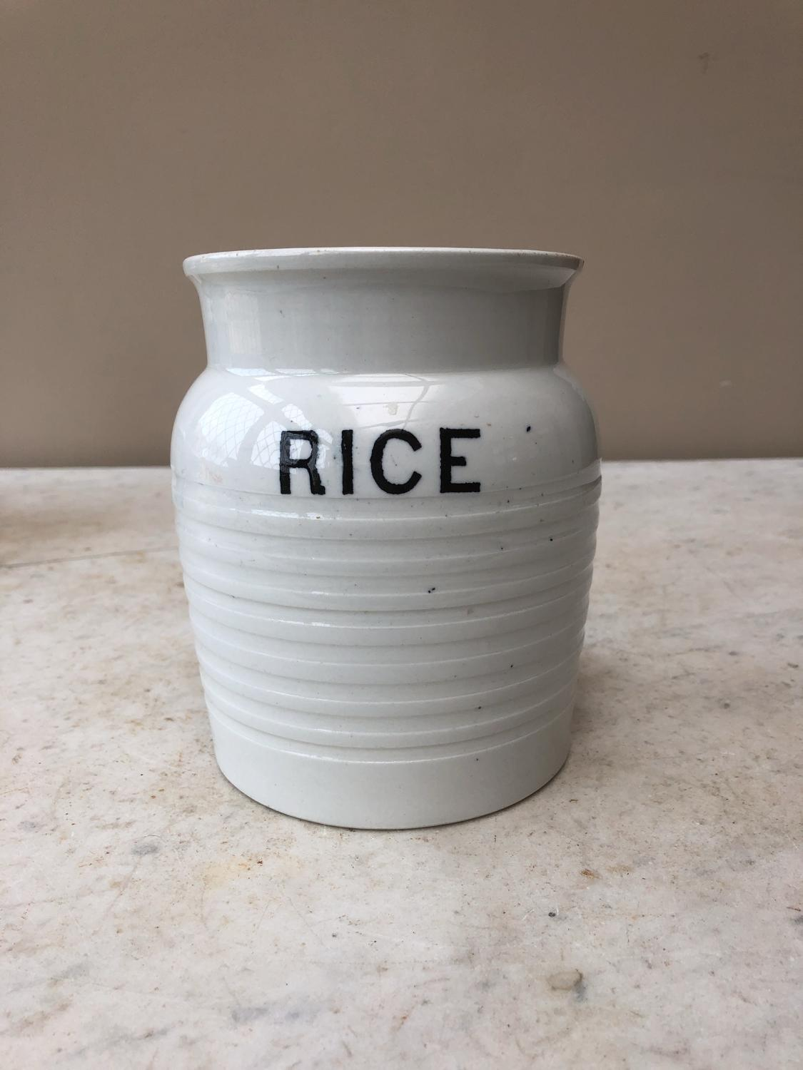 Early 20th Century White Banded Kitchen Storage Jar - Rice