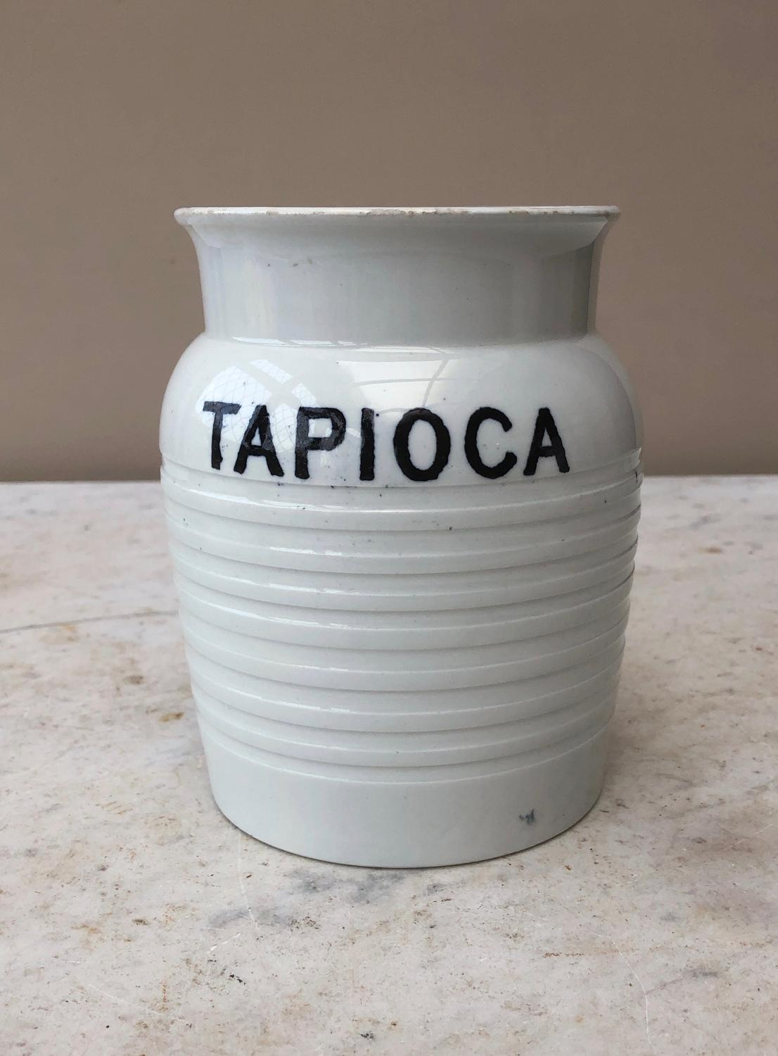 Early 20th Century White Banded Kitchen Storage Jar - Tapioca