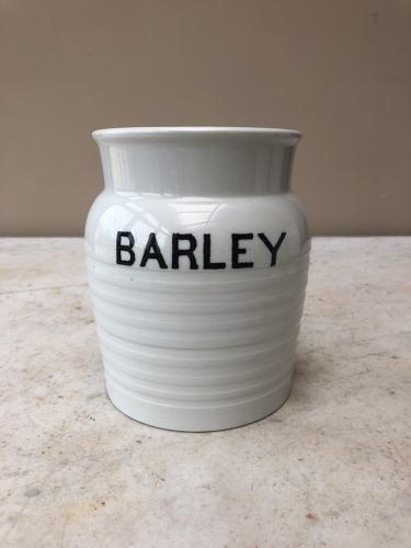 Early 20th Century White Banded Kitchen Storage Jar -Barley