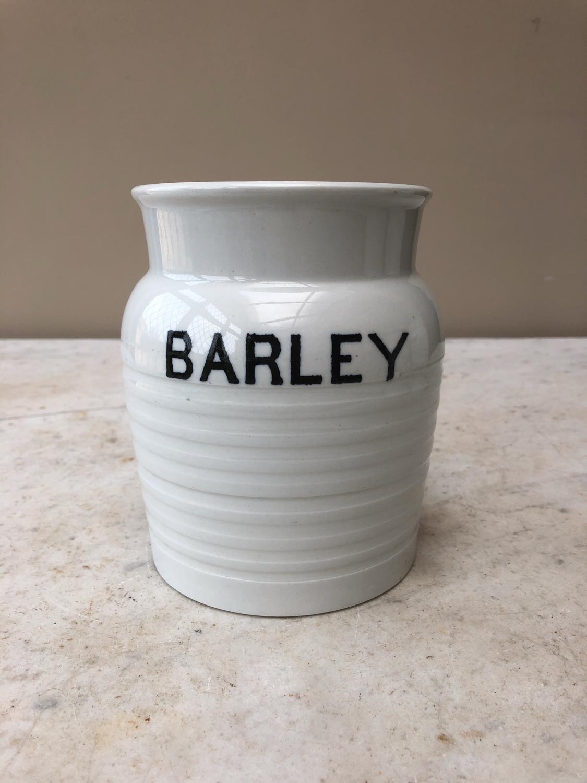 Early 20th Century White Banded Kitchen Storage Jar -Barley